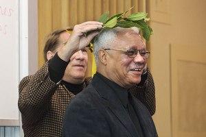 al young with laurel wreathe