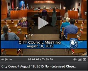 screen capture of city council meeting August 18 2015