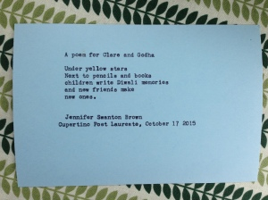 I was typing poems on my typewriter, and this one is for the great new librarian friends I made.
