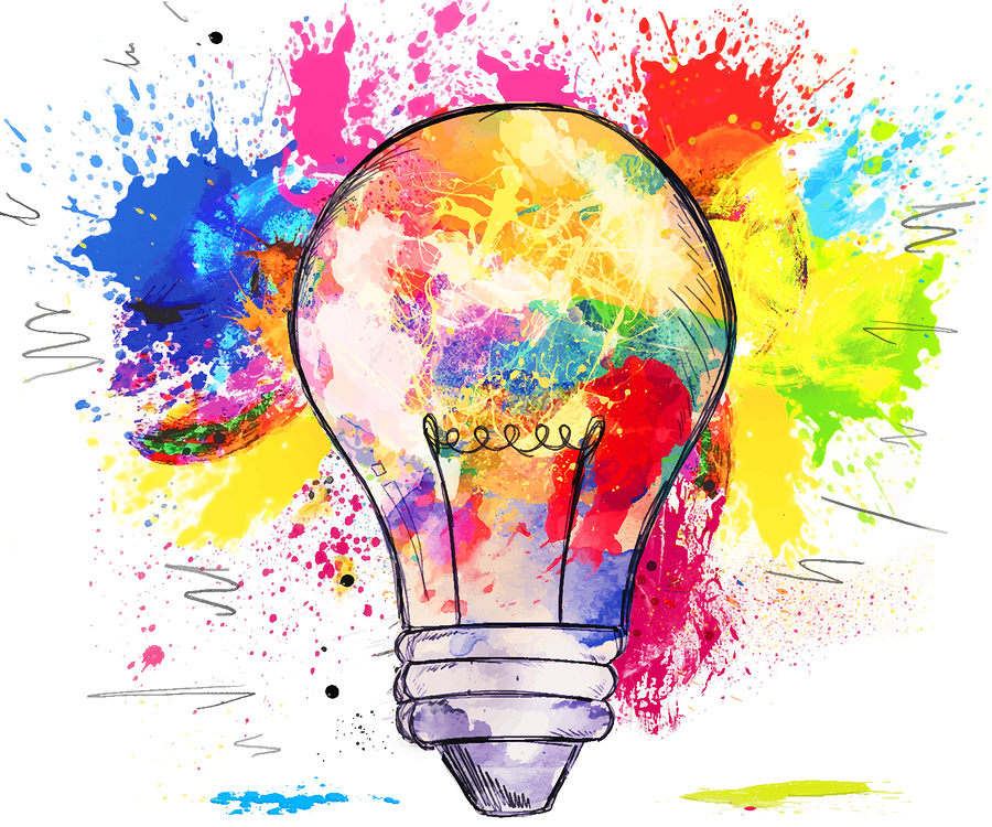 Hand-drawn light bulb over bright colorful blots of paint, on wh